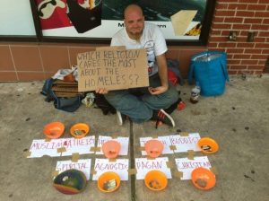 Which religion helps the homeless?