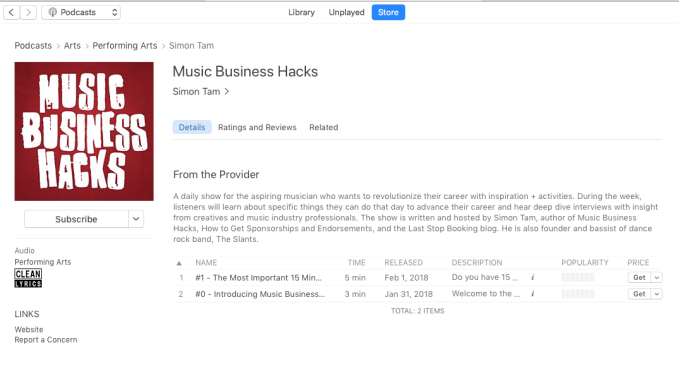 Music Business Hacks podcast & free consulting/books!